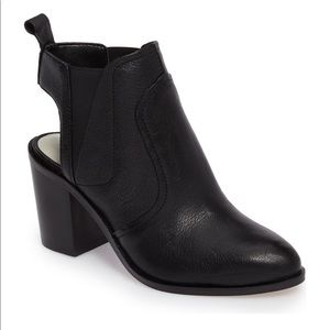 """1. State """"Leban"""" leather/open stack heel bootie."""